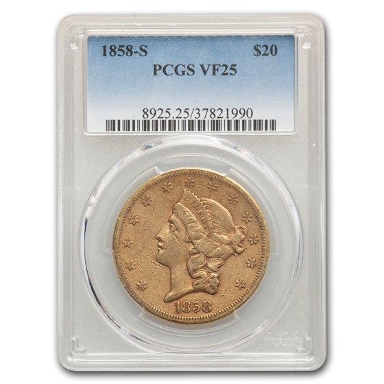 1858-S $20 Liberty Gold Double Eagle VF-25 PCGS