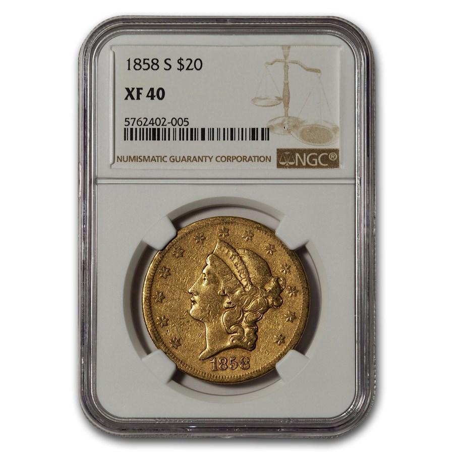 1858-S $20 Liberty Gold Double Eagle XF-40 NGC
