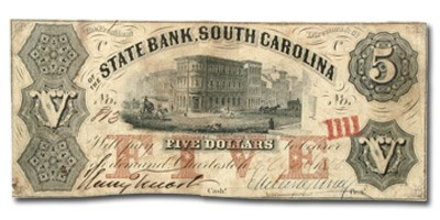 1858 The State Bank of Charleston, SC $5.00 SC-40 VF