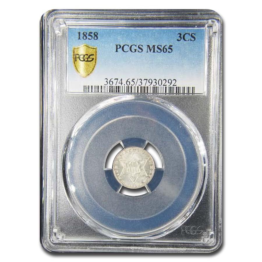 1858 Three Cent Silver MS-65 PCGS