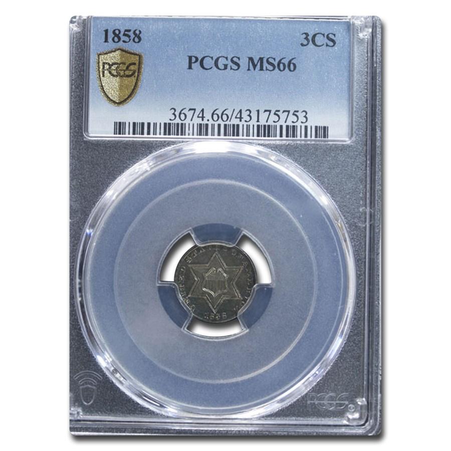 1858 Three Cent Silver MS-66 PCGS