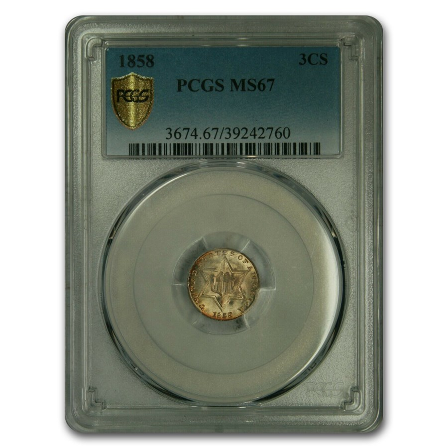1858 Three Cent Silver MS-67 PCGS