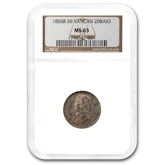 1858B Papal States 20 Baiocchi Pius IX MS-63 NGC