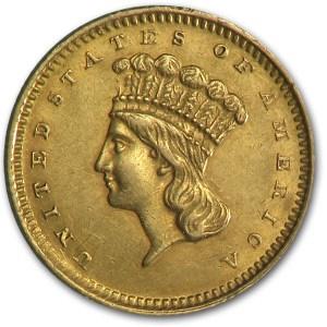 1859 $1 Indian Head Gold AU