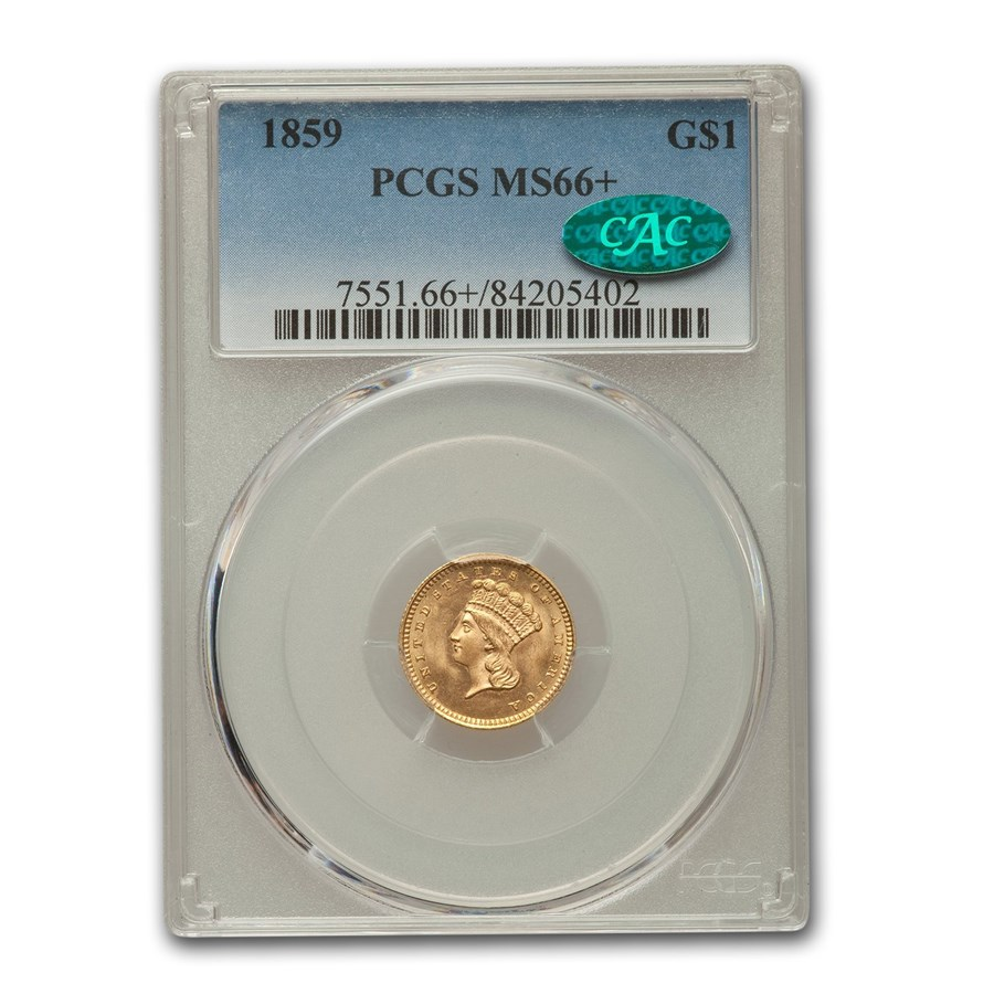 1859 $1 Indian Head Gold MS-66+ PCGS CAC