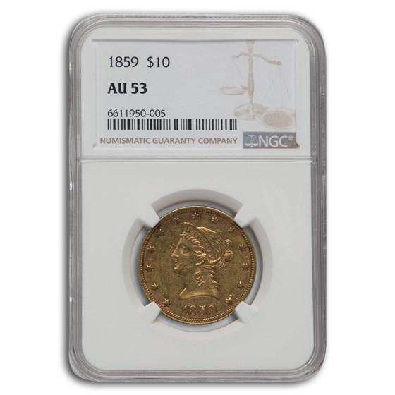 1859 $10 Liberty Gold Eagle AU-53 NGC