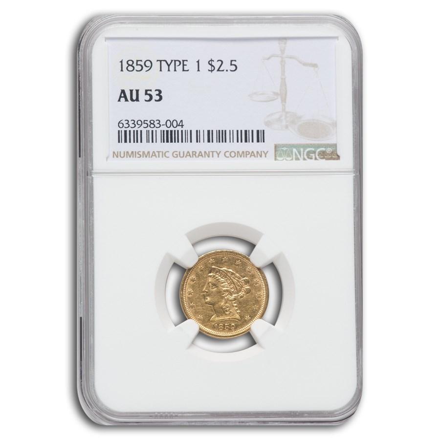 1859 $2.50 Liberty Gold Quarter Eagle AU-53 NGC (Type 1)