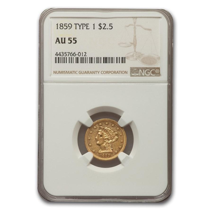 1859 $2.50 Liberty Gold Quarter Eagle AU-55 NGC