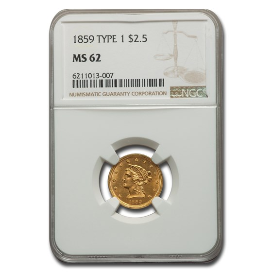 1859 $2.50 Liberty Gold Quarter Eagle MS-62 NGC (Type-I)