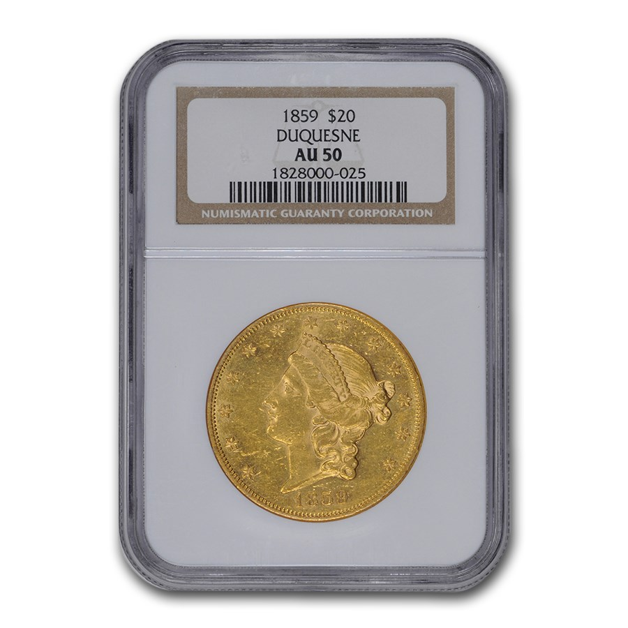 1859 $20 Liberty Gold Double Eagle AU-50 NGC (Duquesne)