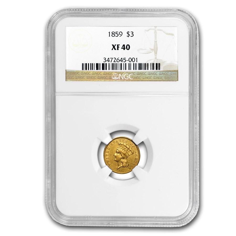1859 $3 Gold Indian Princess XF-40 NGC