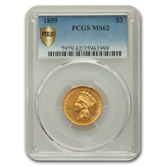 1859 $3 Gold Princess MS-62 PCGS