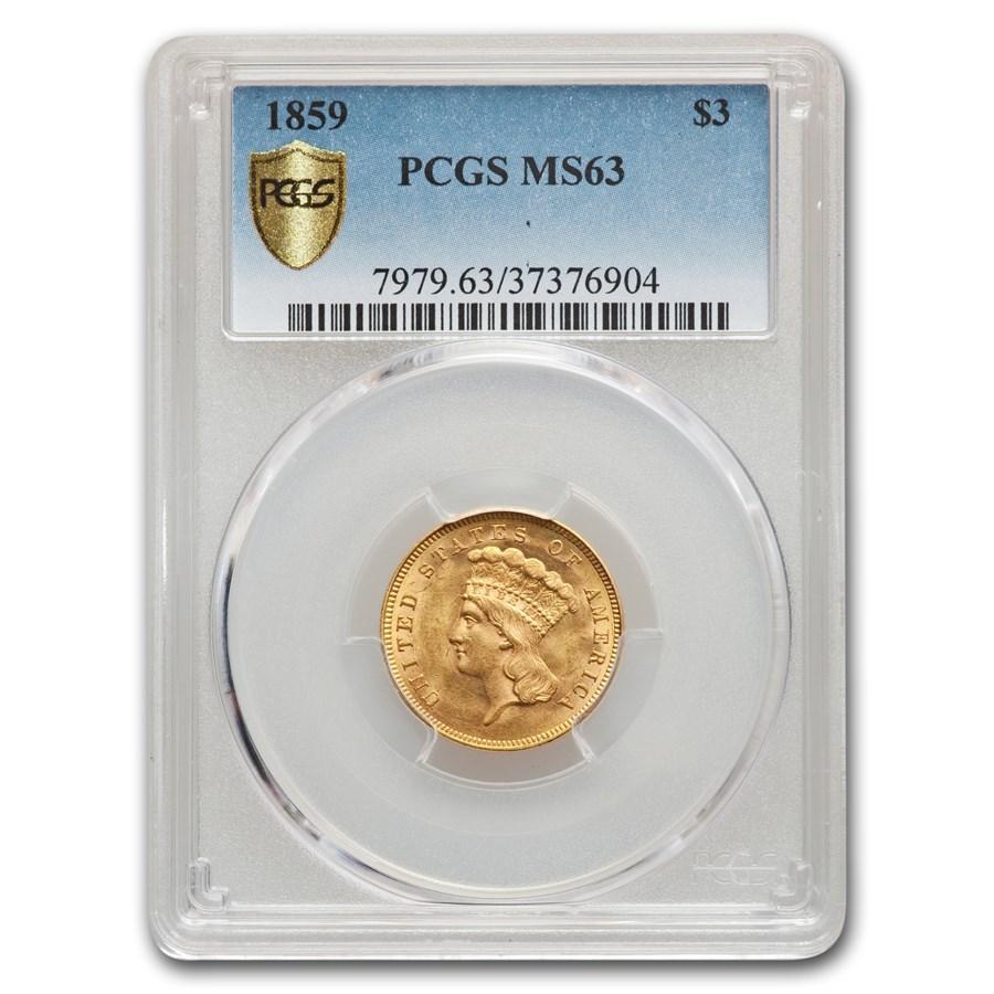 1859 $3 Gold Princess MS-63 PCGS
