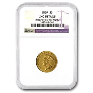 1859 $3 Gold Princess Unc Details NGC (Cleaned)