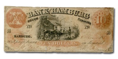 1859 Bank of Hamburg, South Carolina $10.00 SC-86 XF
