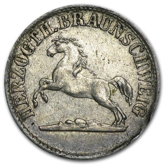 1859 Brunswick-Wolfenbuttel Silver 1/2 Groschen EF