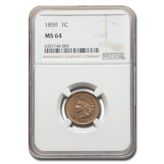 1859 Indian Head Cent MS-64 NGC