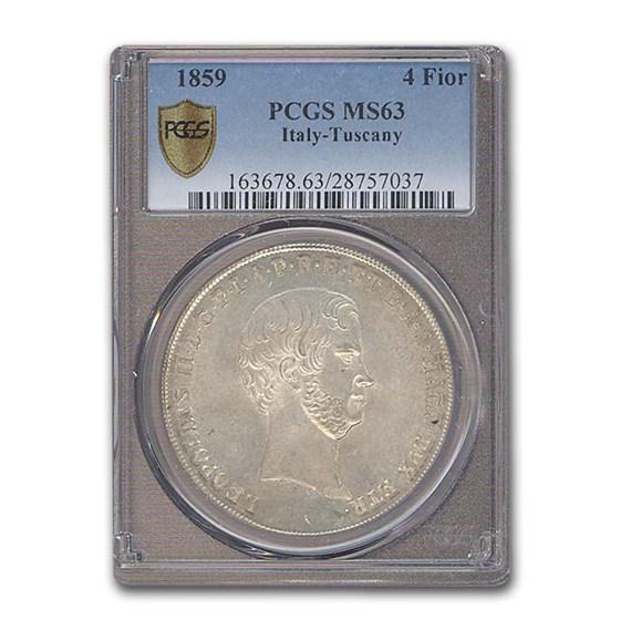 1859 Italy 4 Fiorini Tuscany Leopold II MS-63 PCGS
