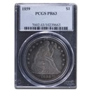 1859 Liberty Seated Dollar PR-63 PCGS