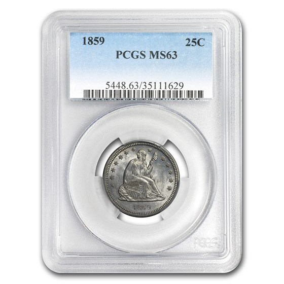 1859 Liberty Seated Quarter MS-63 PCGS