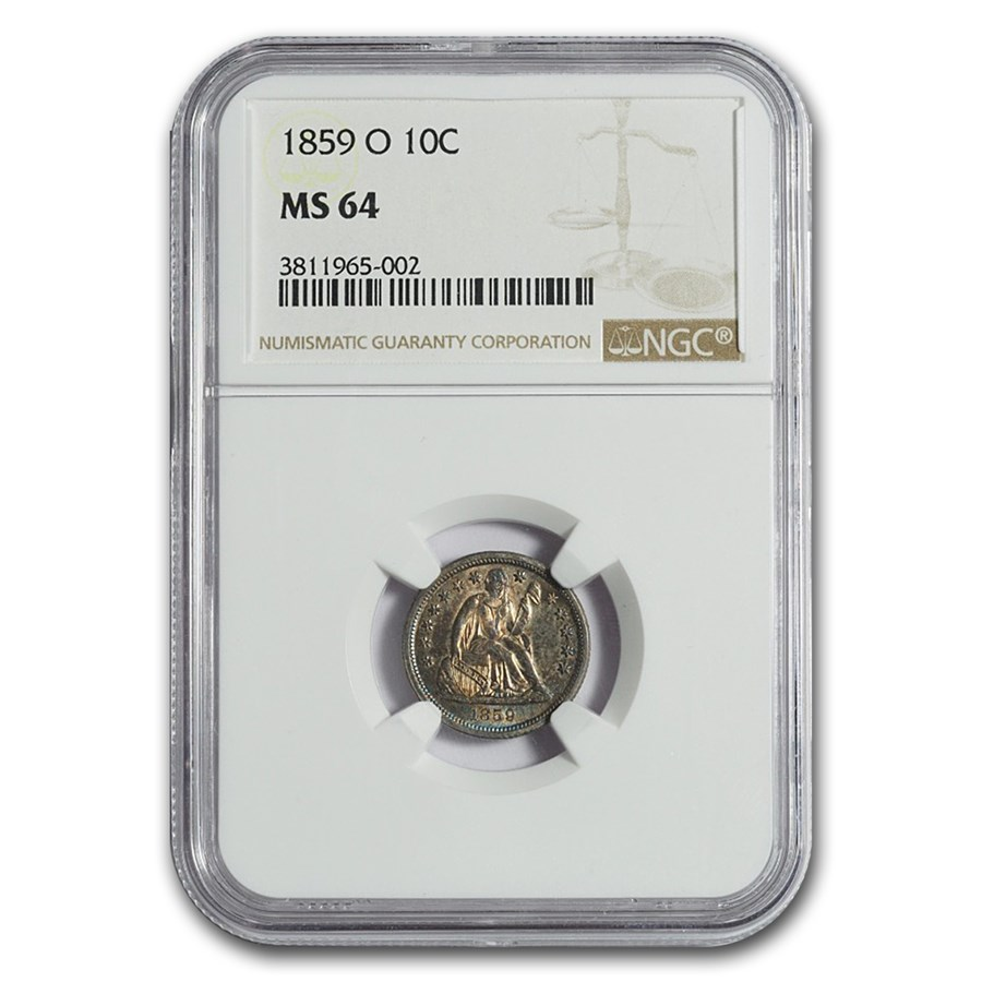 1859-O Liberty Seated Dime MS-64 NGC