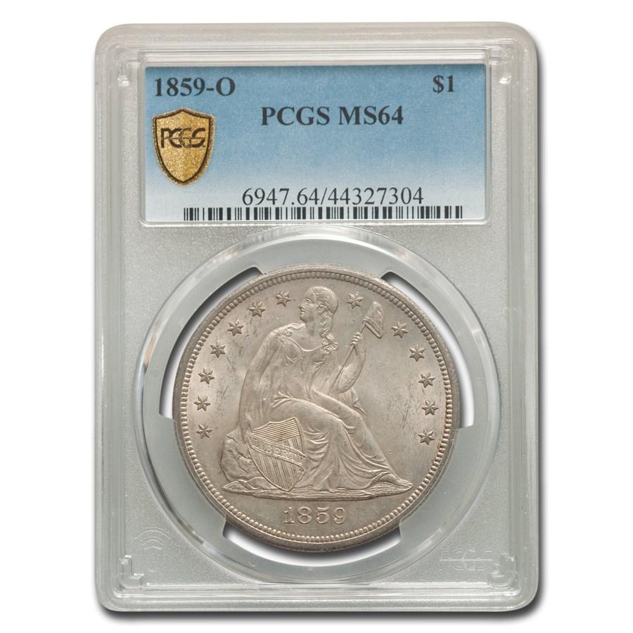 1859-O Liberty Seated Dollar MS-64 PCGS
