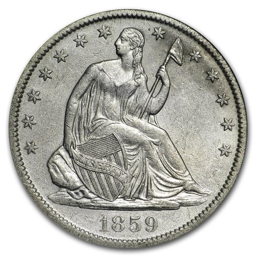 1859-O Liberty Seated Half NGC (SS-Republic, Book display)
