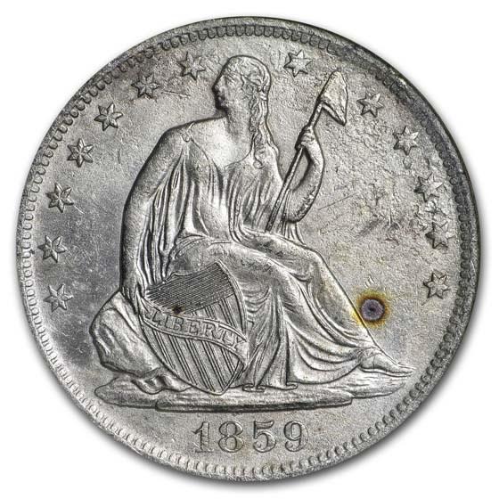 1859-O Seated Half 9 In Rock NGC (SS-Republic, Book display)