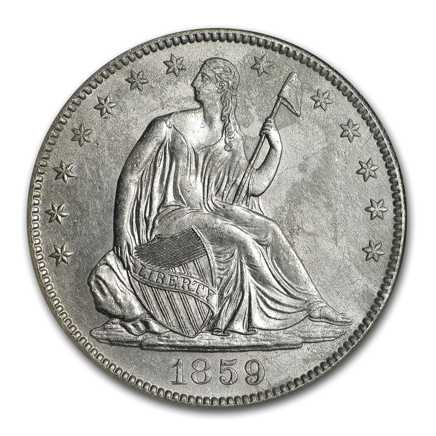 1859-O Seated Half Doubled 1 NGC (SS-Republic, Book display)