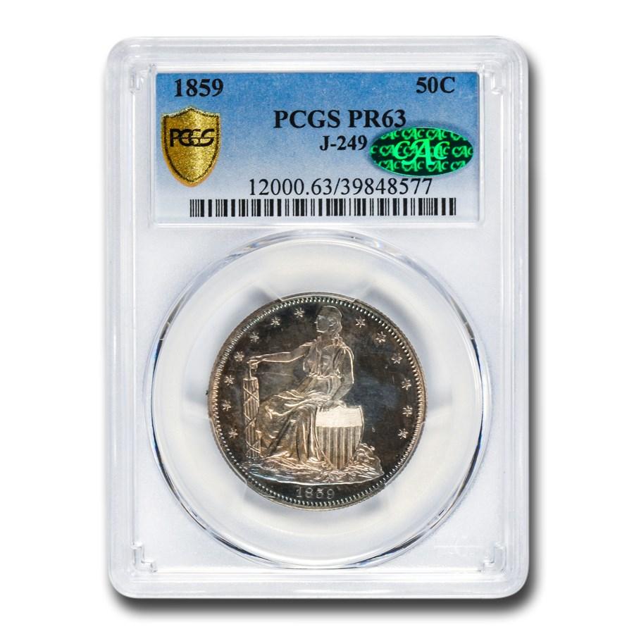 1859 Paquet Liberty Seated Half Dollar Pat PR-63 PCGS CAC (J-249)