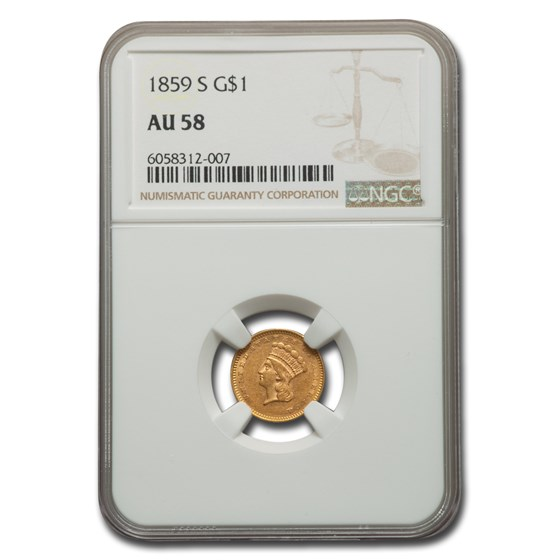1859-S $1 Indian Head Gold AU-58 NGC