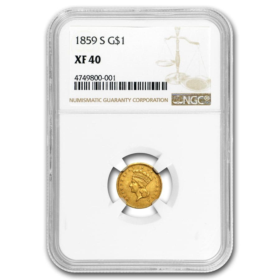 1859-S $1 Indian Head Gold XF-40 NGC