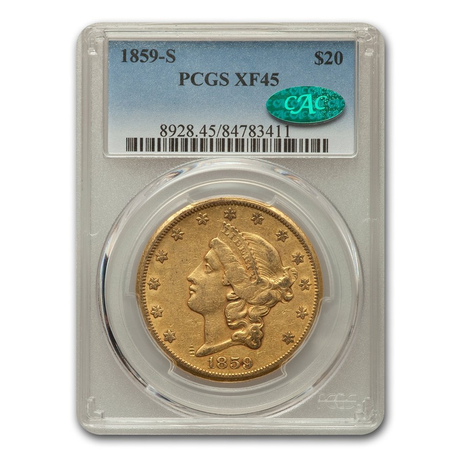 1859-S $20 Liberty Gold Double Eagle XF-45 PCGS CAC