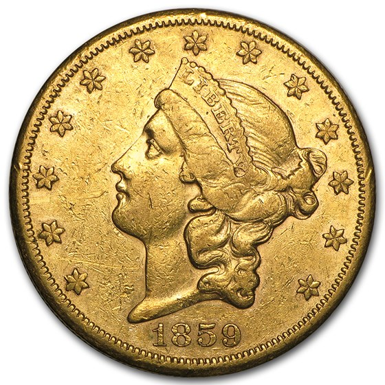 1859-S $20 Liberty Gold Double Eagle XF Details