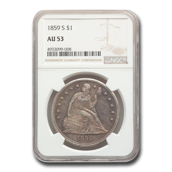 1859-S Liberty Seated Dollar AU-53 NGC