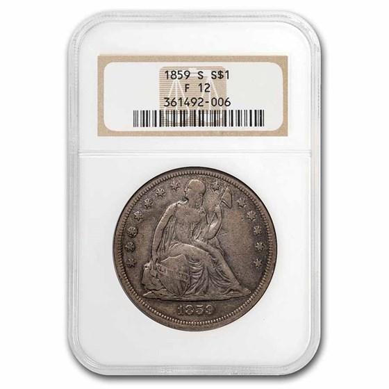 1859-S Liberty Seated Dollar Fine-12 NGC