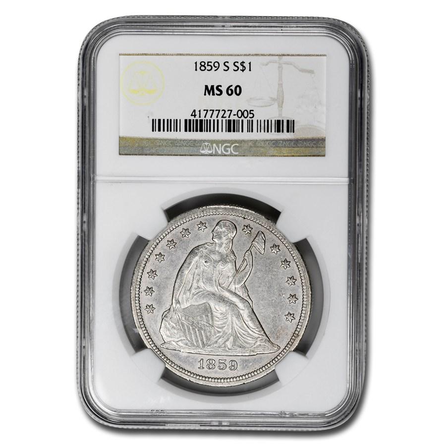 1859-S Liberty Seated Dollar MS-60 NGC