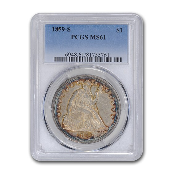1859-S Liberty Seated Dollar MS-61 PCGS