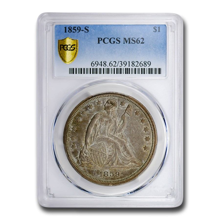 1859-S Liberty Seated Dollar MS-62 PCGS