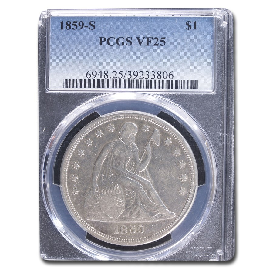 1859-S Liberty Seated Dollar VF-25 PCGS