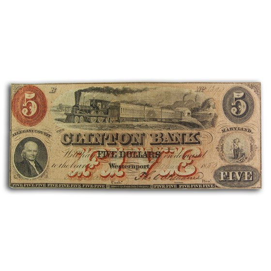 1859 The Clinton Bank of Westernport, MD $5.00 MD-305 Ch AU
