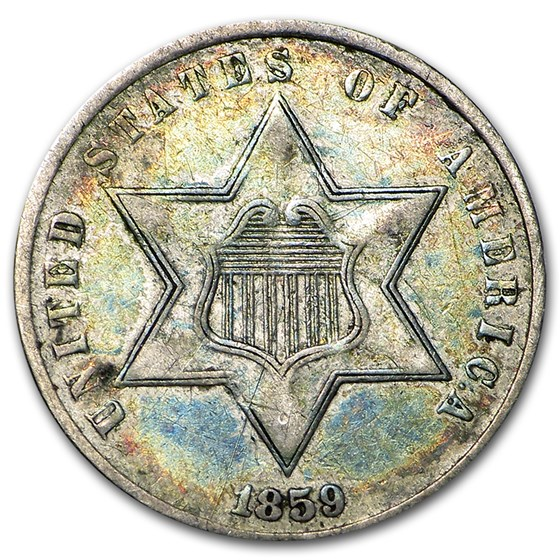 1859 Three Cent Silver Fine