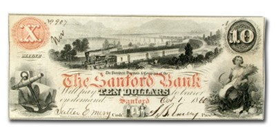 1860 $10.00 The Sanford Bank of Sanford, ME ME535 XF (Red)
