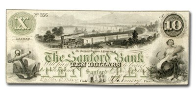 1860 $10.00 The Sanford Bank of Sanford, ME ME535 XF
