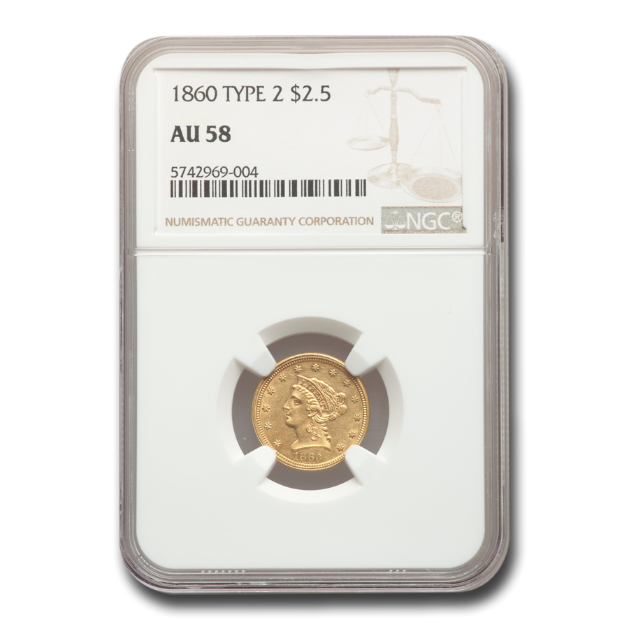 1860 $2.50 Liberty Gold Quarter Eagle Type-II AU-58 NGC