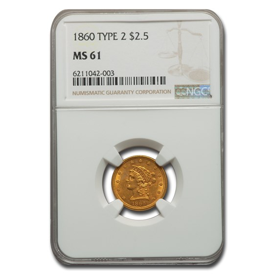 1860 $2.50 Liberty Gold Quarter Eagle Type-II MS-61 NGC