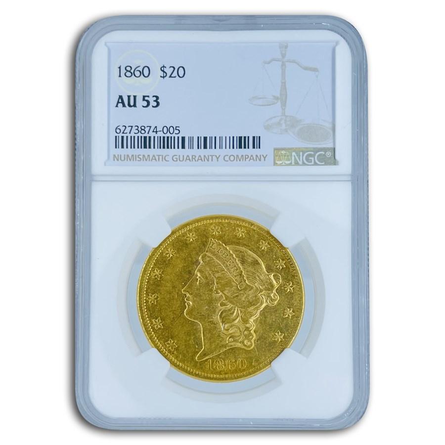 1860 $20 Liberty Gold Double Eagle AU-53 NGC