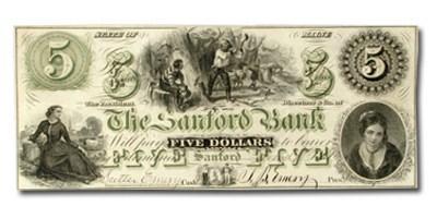 1860 $5.00 The Sanford Bank of Sanford, ME ME535 AU