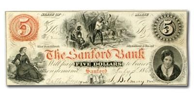 1860 $5.00 The Sanford Bank of Sanford, ME ME535 XF