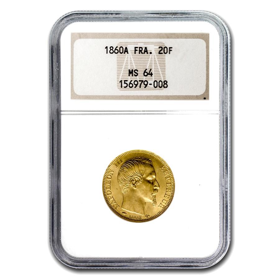 1860-A France Gold 20 Francs Napoleon III MS-64 NGC